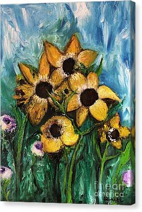 Canvas Print featuring the painting Dancing Flowers by Laurie Lundquist