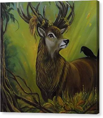 Deer Stag And The Crow Canvas Print by Janet Silkoff