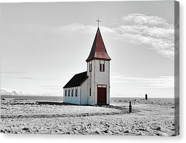 Distressed Old Church Coastal Iceland Color Splash Canvas Print