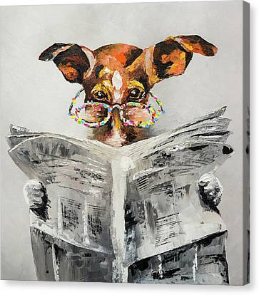Dog's News Canvas Print