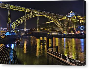 Dom Luis I Bridge At Night In Porto Canvas Print