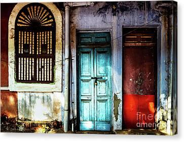 Doors Of India - Blue Door And Red Door Canvas Print