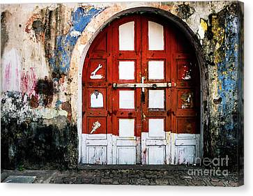 Doors Of India - Garage Door Canvas Print