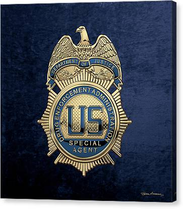Canvas Print featuring the digital art Drug Enforcement Administration -  D E A  Special Agent Badge Over Blue Velvet by Serge Averbukh