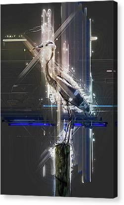 Electric Heron Canvas Print