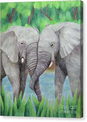 Elephant Couple Canvas Print