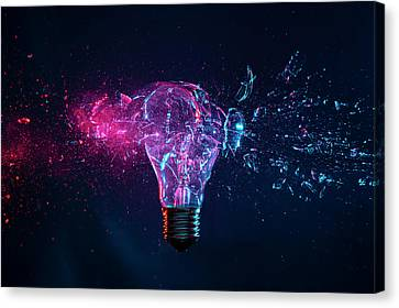 Explosion Of A Filament Light Bulb Canvas Print