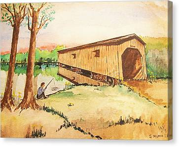 Fishing By The Old Covered Bridge  Canvas Print