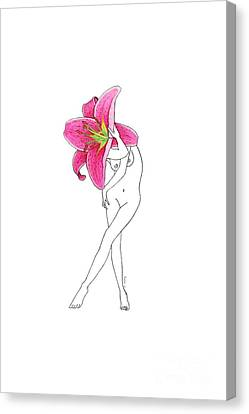 Flower Woman Lilium Painting Canvas Print