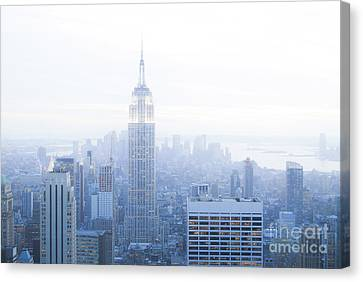 Foggy Morning In New York City Canvas Print