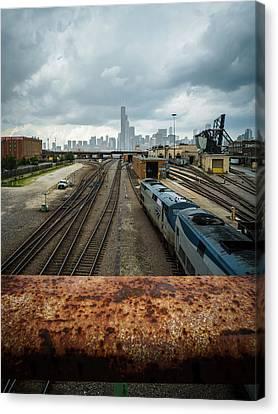 Foggy Skyline Of Chicago  Canvas Print