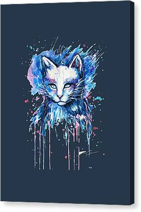 Funny Cat   Isolated On A Blue Background. Canvas Print