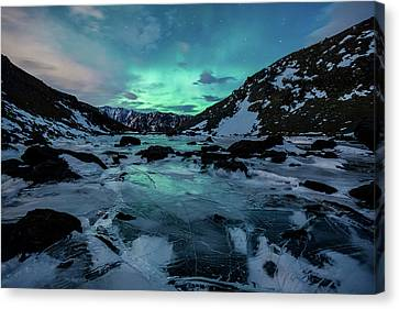 Canvas Print featuring the photograph Gale-force Aurora H by Tim Newton