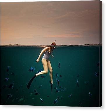 Girl Snorkelling Canvas Print