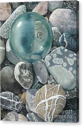 Glass Float And Beach Rocks Canvas Print