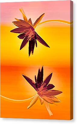 Golden Duo Water Lilies Canvas Print