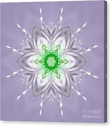 Green Centered Snowflake Flower Canvas Print