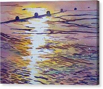 Groynes And Glare Canvas Print
