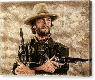 Gunfighter Sepia And Colour Canvas Print
