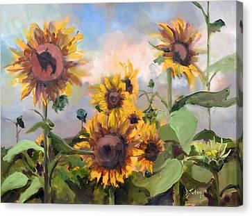 Happy Sunflower Faces Canvas Print
