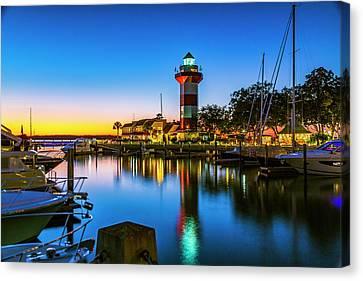 Harbor Town Lighthouse - Blue Hour Canvas Print