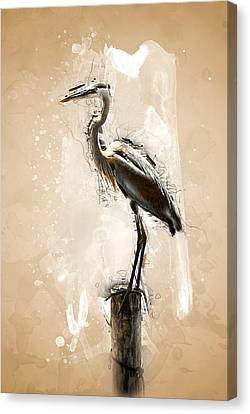 Heron On Post Canvas Print