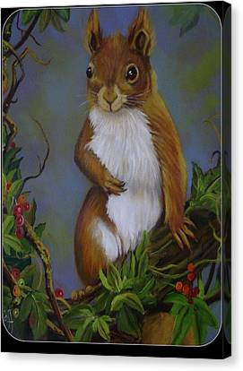 Highland Squirrel Canvas Print by Janet Silkoff