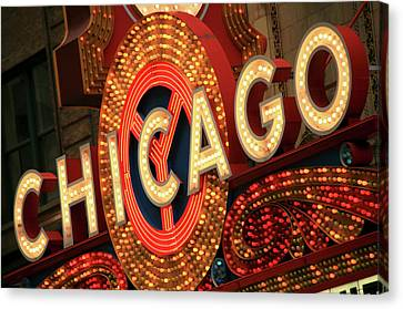 Illuminated Chicago Theater Sign Canvas Print by Hisham Ibrahim