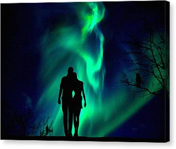 In Love - With Aurora Borealis L B Canvas Print
