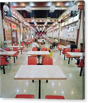 Interior Of Fast Food Restaurant In Canvas Print by Martin Puddy