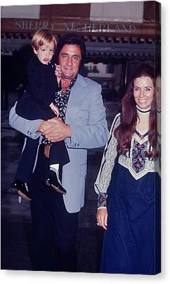 Johnny Cash And Family Canvas Print by Art Zelin