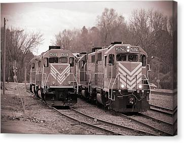 Canvas Print featuring the photograph Lancaster Chester Railroad 2829 B W 1 by Joseph C Hinson Photography