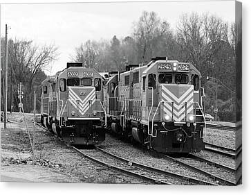 Canvas Print featuring the photograph Lancaster Chester Railroad 2829 B W 2 by Joseph C Hinson Photography