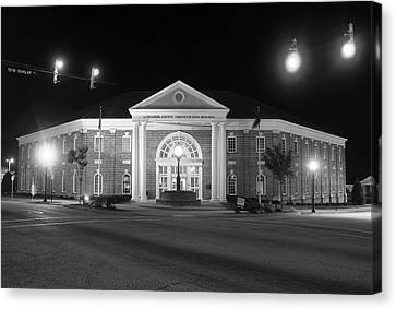 Canvas Print featuring the photograph Lancaster County Administration Building 2016 Night B W by Joseph C Hinson Photography
