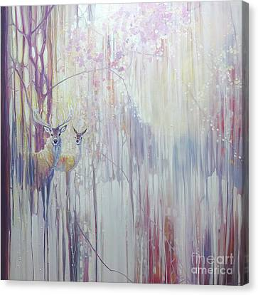 Large Original Oil Painting - Woodland Born - Winter Abstract With Deer Canvas Print