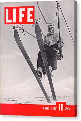 Life Cover 03-08-1937 Skier Riding The Canvas Print