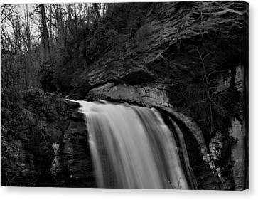 Looking Glass Falls In Black And White Canvas Print
