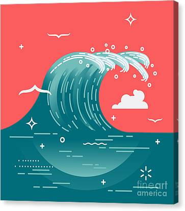 Lovely Vector Background On Large Ocean Canvas Print by Mascha Tace