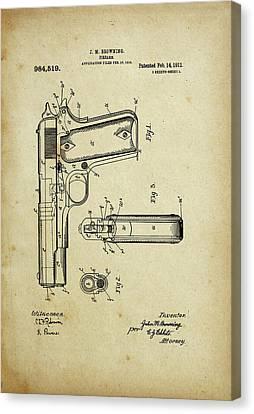 M1911 Browning Pistol Patent Canvas Print