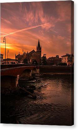 Magical Sunset Over The City Canvas Print