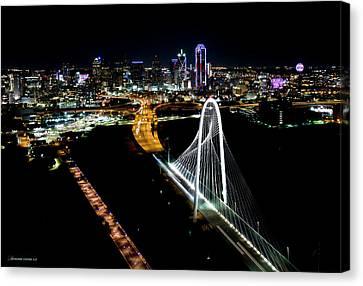 Margaret Hunt Hill Bridge Downtown Dallas Canvas Print