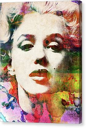 Marilyn Monroe Close-up Watercolor Portrait Canvas Print