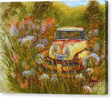 Memories Are Golden - Old Yellow Chevy Pick Up Truck Canvas Print
