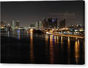 Miami Lights At Night Canvas Print