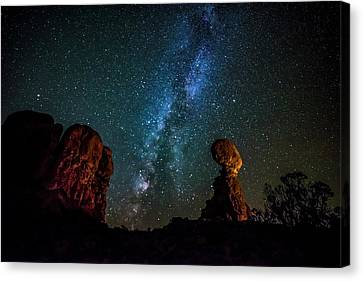 Milky Way Over Balanced Rock Canvas Print