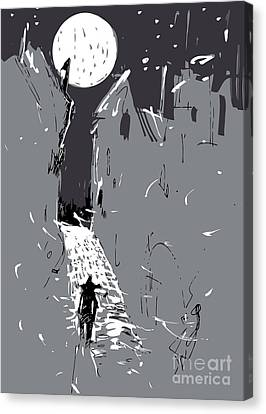 Moonlight Town Canvas Print