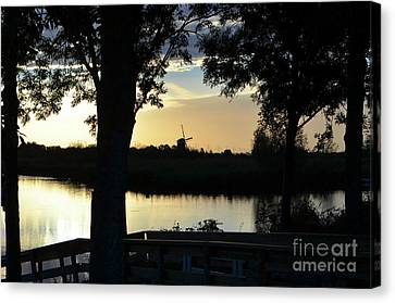Morning Silhouette Of Windmill Canvas Print