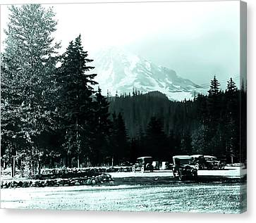 Mount Rainier With Vintage Cars Early 1900 Era... Canvas Print