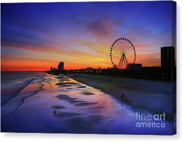 Myrtle Beach Boardwalk Sunset Canvas Print