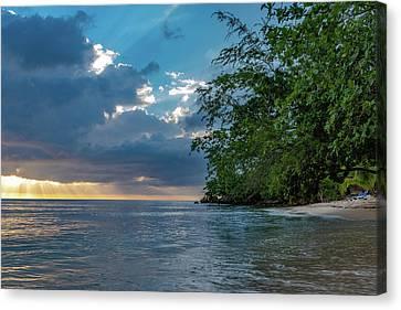 Negril Beach Sunburst At Sunset Canvas Print